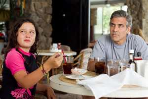 "Amara Miller and George Clooney in ""The Descendants"" (2011)"