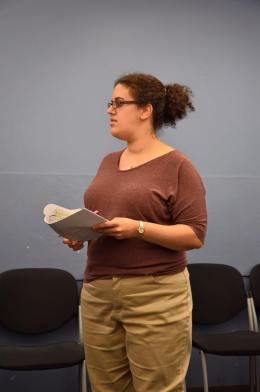 """in rehearsal for Shakespeare's """"Richard III"""" as the Duchess of York (photo credit Colette Panetta)"""