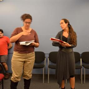 "In rehearsal for Shakespeare's ""Richard III"" with actor Diana Benigno (photo credit Colette Panetta)"