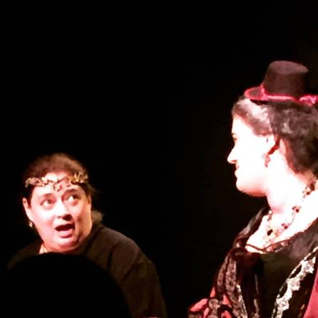 "Actress Randi Sobol (Queen Elizabeth) and Stephanie as the Duchess of York in Nicu's Spoon Theater Co production of Shakespeare's ""Richard III"" at the Secret Theatre"