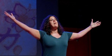 """Stephanie in the world-premiere performance of """"Walk With Me"""" during the 4th Annual SOLOCOM Festival in NYC at the Peoples Improv Theaeter. Directed by Chris Booth Photo credit: Jonathan M. Smith"""