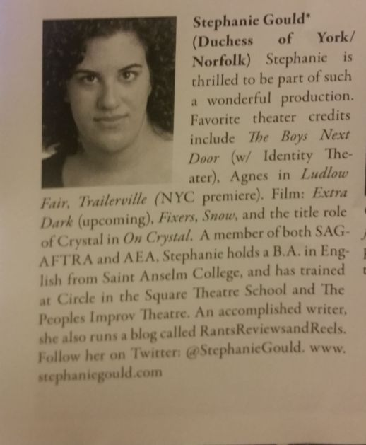"Program bio from ""Richard III"""